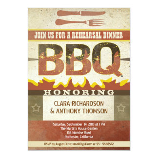 Rehearsal dinner barbeque invitations