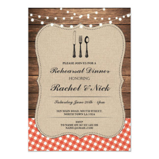 Rehearsal Dinner Cutlery Red Check Rustic Invite