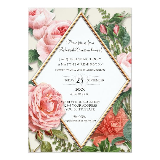 Rehearsal Dinner Floral Vintage Diamond Rose Gold Card