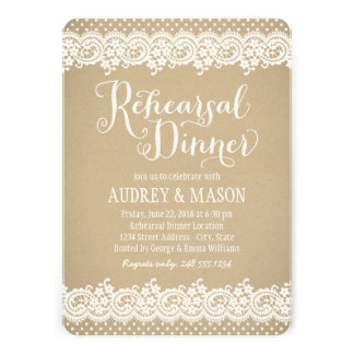 Rehearsal Dinner Invitation Lace and Kraft