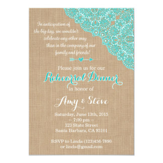 Rehearsal Dinner Invitation with Burlap, Aqua Lace