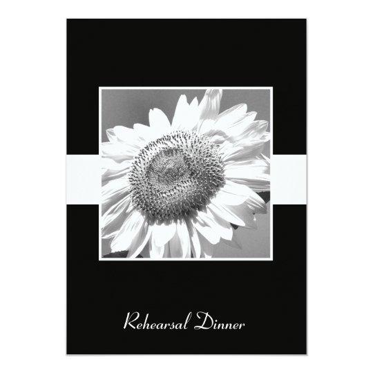 Rehearsal Dinner Invite -- Black & White Sunflower
