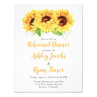 Rehearsal Dinner Invite Yellow Sunflower