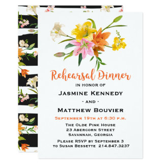 Rehearsal Dinner Lily Flowers Orange Black Stripes Card