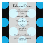 Rehearsal Dinner - Polka Dots, Spots - Blue Black Personalized Announcements