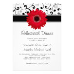 Rehearsal Dinner Red Gerbera Daisy Black Scroll Personalized Announcement