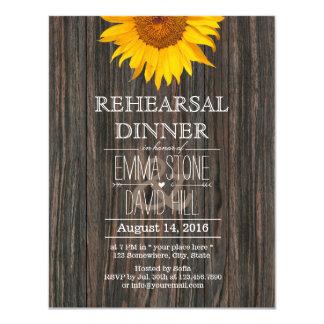 Rehearsal Dinner Rustic Sunflower Classy Wood 11 Cm X 14 Cm Invitation Card