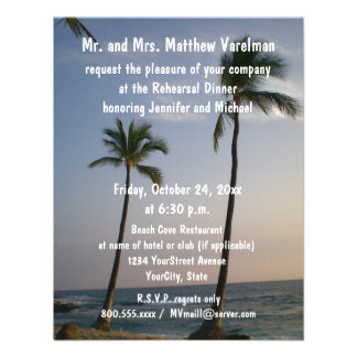 Rehearsal Dinner Sunset with Trade Winds Custom Announcements