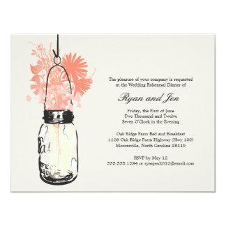 Rehearsal Dinner - Wild Flowers & Mason Jar 11 Cm X 14 Cm Invitation Card
