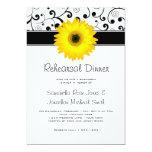 Rehearsal Dinner Yellow Gerbera Daisy Black Scroll 13 Cm X 18 Cm Invitation Card