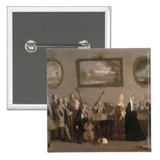 Rehearsal of an Opera, c.1709 (oil on canvas) 15 Cm Square Badge