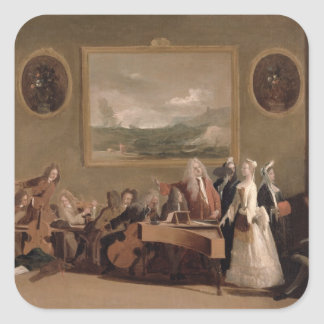 Rehearsal of an Opera, c.1709 (oil on canvas) 2 Square Sticker