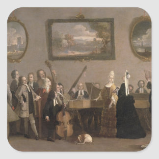 Rehearsal of an Opera, c.1709 (oil on canvas) Square Sticker