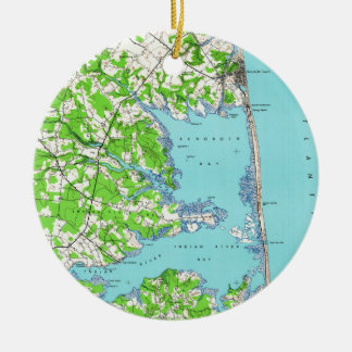 Rehoboth Beach & Bethany Beach Delaware Map (1938) Christmas Ornament