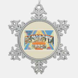 Rehoboth Beach Delaware DE Vintage Travel Postcard Snowflake Pewter Christmas Ornament