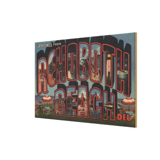 Rehoboth Beach, Delaware - Large Letter Scenes Canvas Print