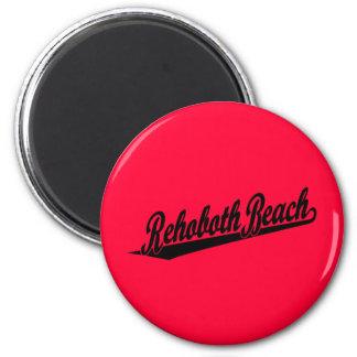 Rehoboth Beach script logo in black 6 Cm Round Magnet
