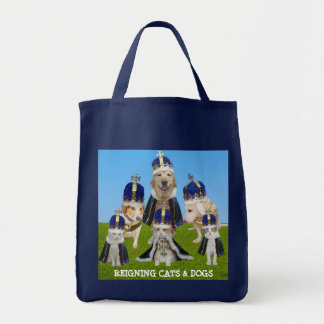 Reigning Cats & Dogs Grocery Tote Bag