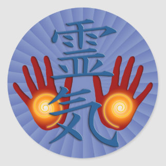 Reiki Hands | blue radial Classic Round Sticker