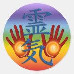 Reiki Hands   chakren colour Round Stickers