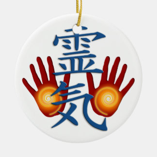 Reiki Hands Round Ceramic Decoration