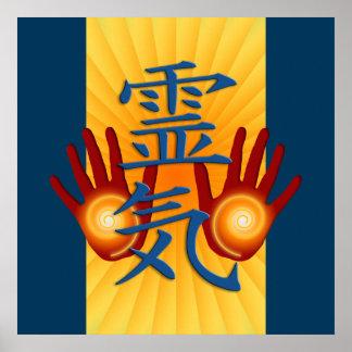 Reiki Hands yellow shine dark blue Print