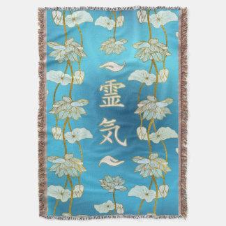 Reiki Healing Hands Symbols with lotus Throw Blanket