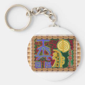 Reiki Healing Symbols by Navin Joshi Artist Canada Basic Round Button Key Ring