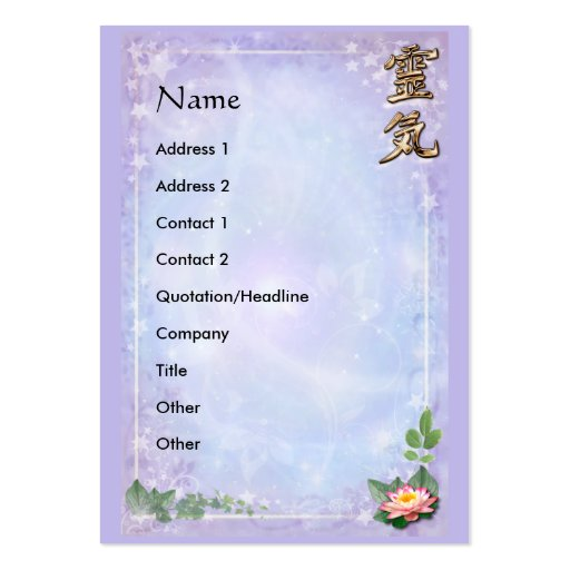 Reiki Large Business Cards (Pack Of 100)