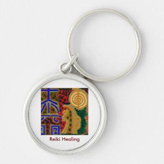 REIKI Main Healing Symbols Silver-Colored Round Key Ring