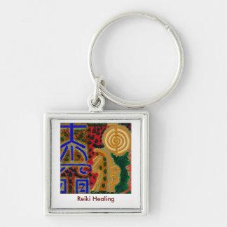 REIKI Main Healing Symbols Silver-Colored Square Key Ring