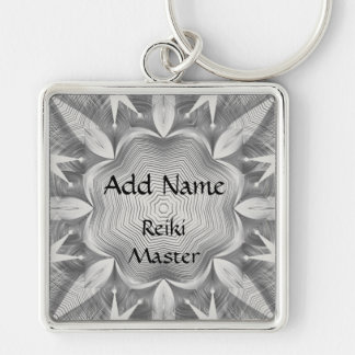 Reiki Master Silver-Colored Square Key Ring