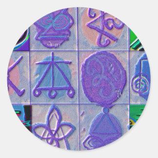 Reiki n Karuna Healing Sign 12    V24 Round Sticker