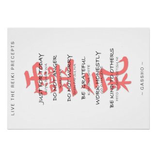 REIKI PRECEPTS POSTER in english and japanese !