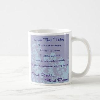 Reiki Principles Blue Basic White Mug