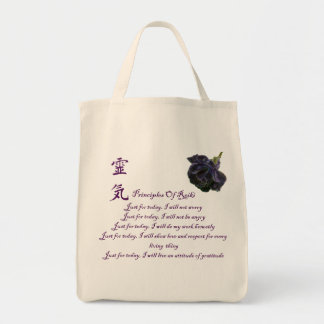 Reiki Principles Just For Today Grocery Tote Bag