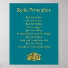 Reiki Principles Teal/Gold Lotus Poster
