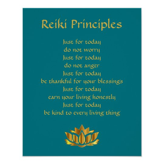 Reiki Principles Teal/Gold Lotus Poster