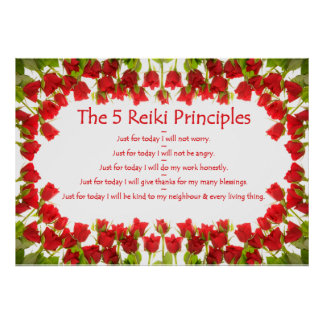 Reiki Principles with Roses Poster