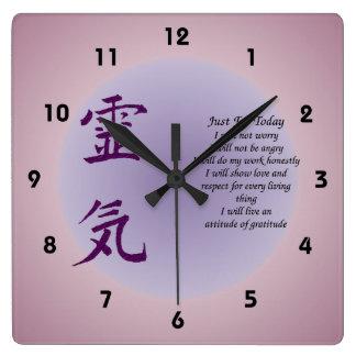 Reiki Symbol Just For Today Inspirational Wall Clocks