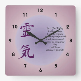 Reiki Symbol Just For Today Inspirational Wall Clocks