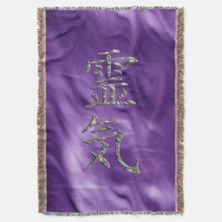 REIKI Symbol silver + your background Throw Blanket