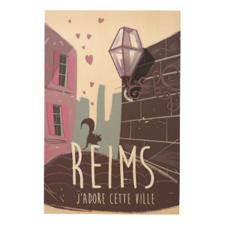 Reims France city travel poster Wood Canvases