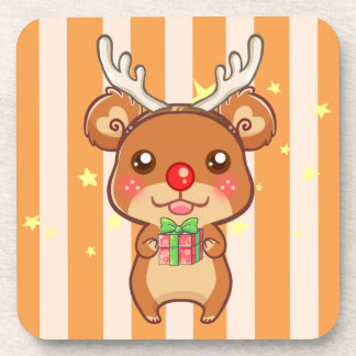 ReinBear Christmas Coasters (Cork Back: set of 6)
