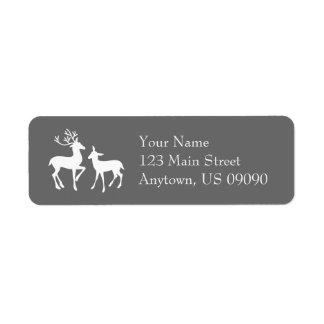 Reindeer Address Labels (Gray)