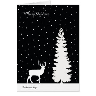 Reindeer and Christmas tree - falling snow Card