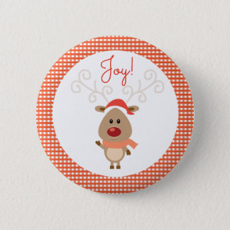 Reindeer and Red Gingham Christmas 6 Cm Round Badge