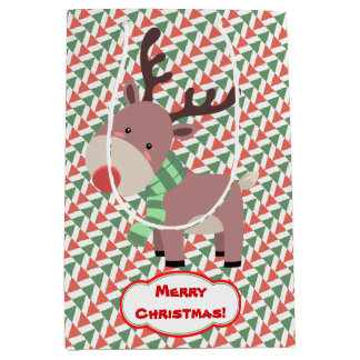 Reindeer and Santa Claus Christmas Pattern Medium Gift Bag