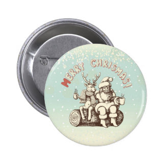 Reindeer and Santa Claus taking a coffee break 6 Cm Round Badge