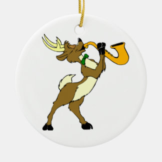 Reindeer And Saxophone Christmas Ornament